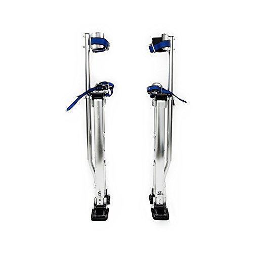 FCH Aluminum Tool Stilts 48 to 64 Inches Height Adjustable Drywall Stilt Lifts for Taping Painting Finishing Portable Lifting Tool Silver