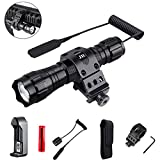 ZJR Rechargeable Tactical Flashlights with Holster, Remote Press Switch,Picatinny Mount for Camping Biking Hunting