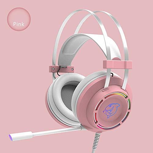 LFK Auriculares para juegos con sonido envolvente 7.1 con cable USB, Super Bass con micrófono LED luz auriculares, adecuado para PC Gaming Laptop Xbox Gaming Headset (color: rosa)