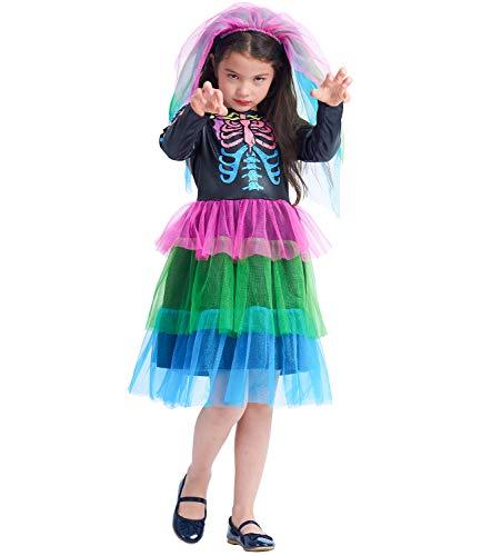 Disfraz de hueso de color para niñas Vestido de esqueleto Disfraz de calavera de Halloween Disfraz de neón Funky 2PC