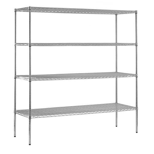 AmazonBasics 5-Shelf Shelving Storage Unit on 4'' Wheel Casters , Metal Organizer Wire Rack, Chrome Silver (30L x 14W x 64.75H)