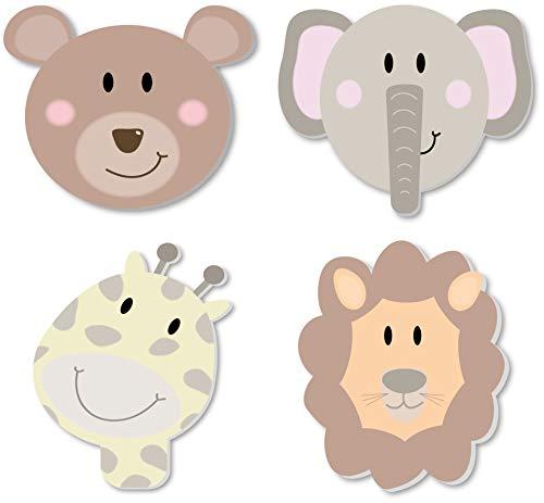 3D Wandsticker XXL Motiv Bär Giraffe Elefant und Löwe / 4 Tier Wandaufkleber in 3D Optik 1 cm dicke Wandtatoos/selbstklebend für Wand, Regal oder Möbel / (Wilde Tiere)
