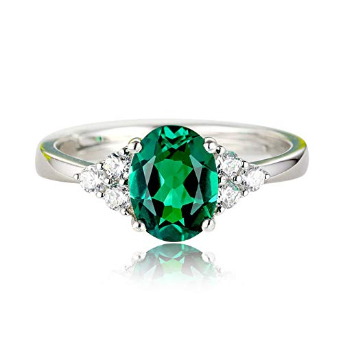 Qinlee Green Nano Emerald Ring Genuine Solid Silver Fashion Vintage May Birthstone Rings for Women Fine Jewelry