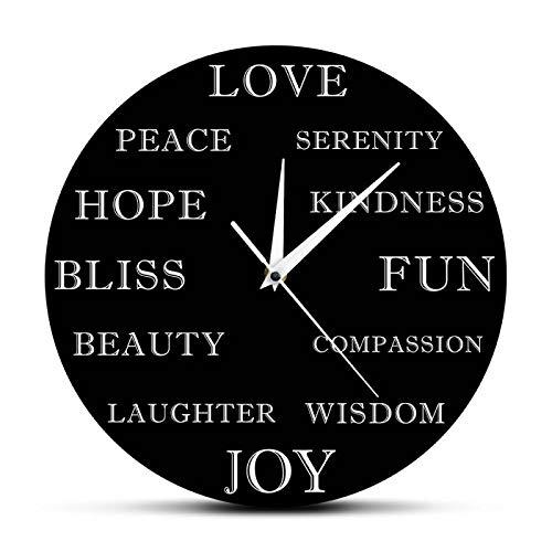 hufeng Reloj de Pared Moderno Hermoso Palabras Inspiradoras Reloj de Pared Motivacional Decoración para el hogar Arte Educativo en la Pared Reloj Colgante Reloj Regalo de año Nuevo
