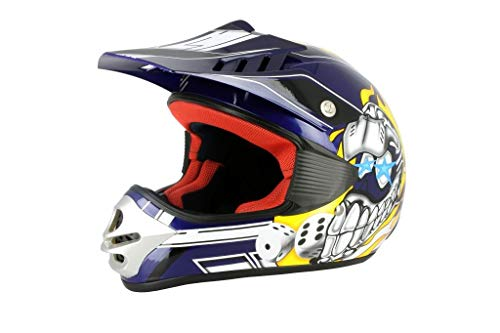 S-Line Casco cross bambino S880 Viper Dice blu M (Caschi bambino) / Kid cross helmet S880 Viper Dice blue M (Child helmet)