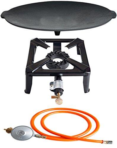 PaellaWorld Paella World International Barbecue Set de réchaud à gaz réchaud avec Fonte Bol et gaz Kit de Connexion Multicolore, 3 pièces