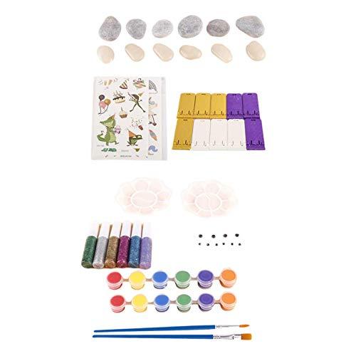 WOTEG Juego de 45 piezas de juguete educativo para niños, creativo, para hacer tú mismo, pintura a mano, piedras brillantes, herramientas de pintura y colores