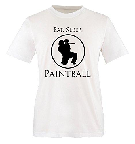 Comedy Shirts - EAT. Sleep. Paintball - Kinder T-Shirt - Weiss/Schwarz Gr. 98-104