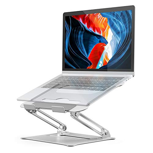 Adjustable Laptop Stand, Aluminum Computer Riser, Ergonomic Portable Laptops Elevate Stand for Desk, Multi-Angle with Heat-Vent Height Holder Compatible with 10-17' Notebook Computer (Silver)