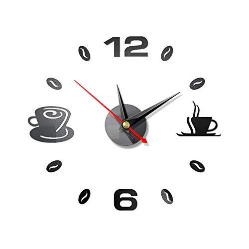 LZL Reloj de Pared Autoadhesivo Cocina 3D analógico hogar Impermeable Reloj de Pared Arte DIY Mute Moderno Espejo café Tazas decoración acrílico Relojes de Pared (Color : Black)