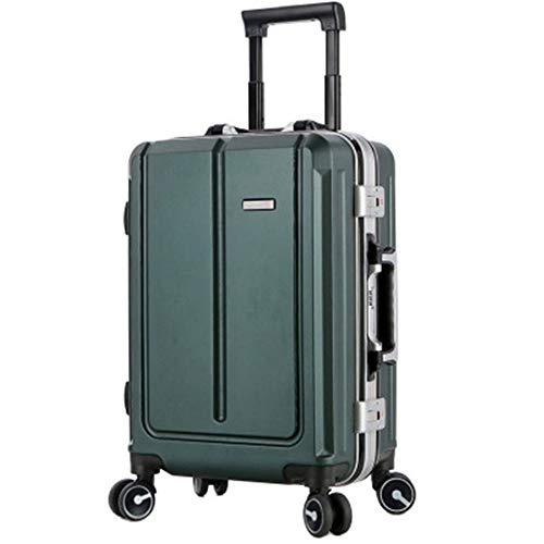 Luggage Large Size Travel Suitcase Retro Aluminum Frame Universal Wheel Suitcase Password Board Case Trolley Case 20inch / 24inch For travel and business trips (Color : Dark green, Size : 24inch)