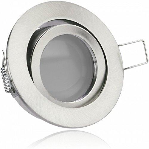LED Einbaustrahler Set Silber gebürstet mit LED GU10 Markenstrahler von LEDANDO - 5W - warmweiss - 120° Abstrahlwinkel - schwenkbar - 35W Ersatz - A+ - LED Spot 5 Watt - Einbauleuchte LED rund