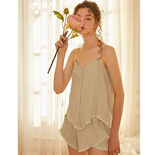 YRTHOR Conjuntos de Pijamas de 2 Piezas, Ropa de casa para Mujer, Ropa de Dormir Informal sin Mangas, Traje de Dormir de Primavera Sexy, Pantalones de salón,Verde,M