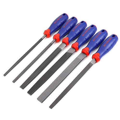 WORKPRO Feilensatz, Flachfeile 200mm, Halbrundfeile 200mm, Rundfeile 200mm, Dreikantfeile 200mm, Feilraspel 200mm, Rundfeilraspel 200mm 6-tlg.