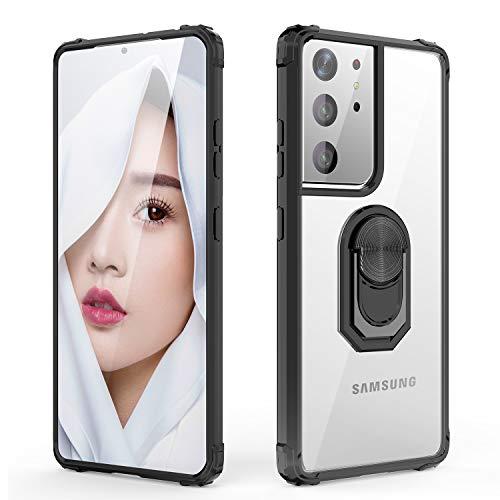 WATACHE für das Galaxy S21 Ultra-Gehäuse, kristallklares Armor Defender-Design Hybrid-Schutzhülle [Ringhalter-Ständer] [Magnetische Autohalterung] für das Galaxy S21 Ultra 6,8 Zoll 2021, Schwarz
