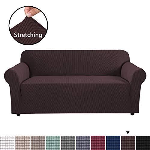 BellaHills Sofa Schonbezug, Stretch Couchbezüge für 3 Kissen Couch-Couchbezüge für Sofa-Sofabezüge für Wohnzimmer, Couchbezüge für Hunde, Sofa Schonbezug, Couch Schonbezug (3-Sitzer, Braun)
