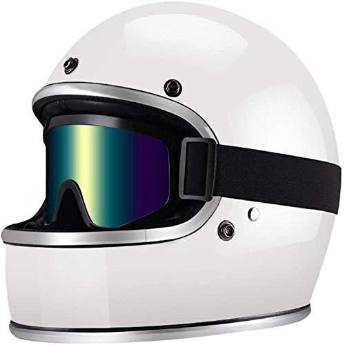 ZHXH Retro Motorradhelm - Unisex Collision Full Face Wear Brille für Erwachsene aus Glasfaser - Dot Certified Ece,