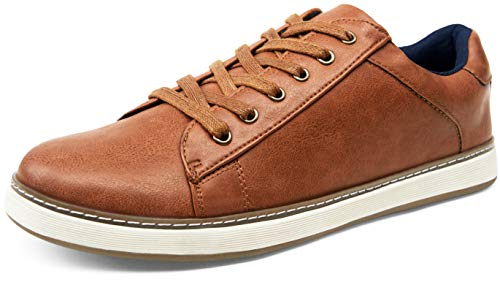 JOUSEN Men's Sneakers Retro Casual Shoes for Men Plain Toe Business Fashion Sneaker (12,Yellow Brown)