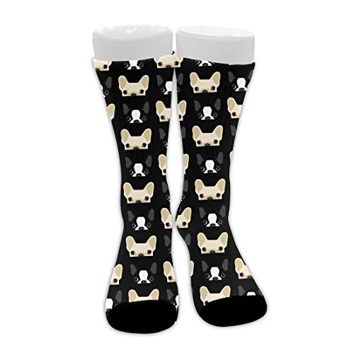 Premium Boston Terrier And French Bulldog Friends Mid-Calf Stockings Comfy Breathable Hiking Socks Classics Compression Socks Great Gift For Women Teens Girls