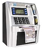 LB Euros Versión Huchas Anco de Dinero Banco de Ahorro de Cajeros Caja de Dinero Electrónica Digital ATM para Monedas y Billetes, Mini Alcancía para Navidad y Cumpleaños, Negro