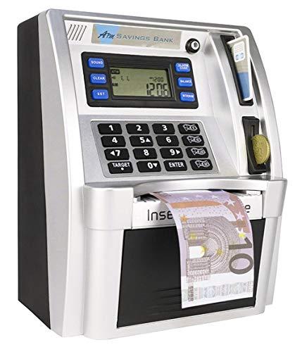 LB Geldbank Geldautomat für Kinder Sparbank Elektronischer digitaler Geldautomat Spardose für Münzen und Scheine,Mini Sparschwein,Schwarz/Silber(Euro Version)