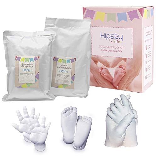 minino 3D Gipsabdruck-Set // Handabdruck & Fußabdruck // bis zu 6 Abdrücke // Baby Abdruck Abform-Set // Muttertag