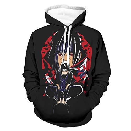 Shinelly Anime Itachi - Sudadera con capucha para hombre, manga larga, con bolsillos blanco XL