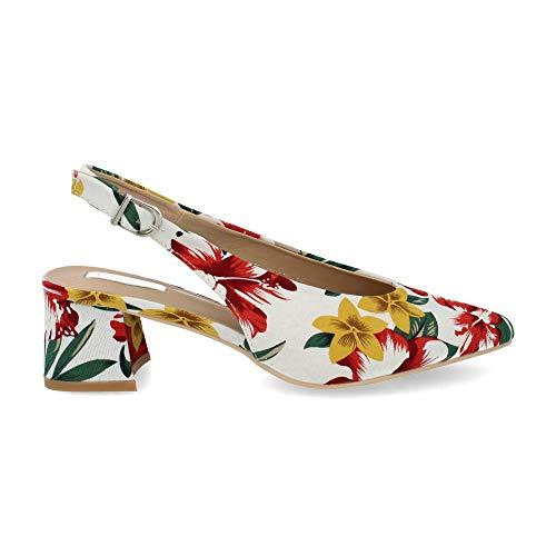 Zapato Salon de Mujer Destalonado Punta Fina con Tejido Estampado Primavera Verano 2019. Talla 38 Blanco