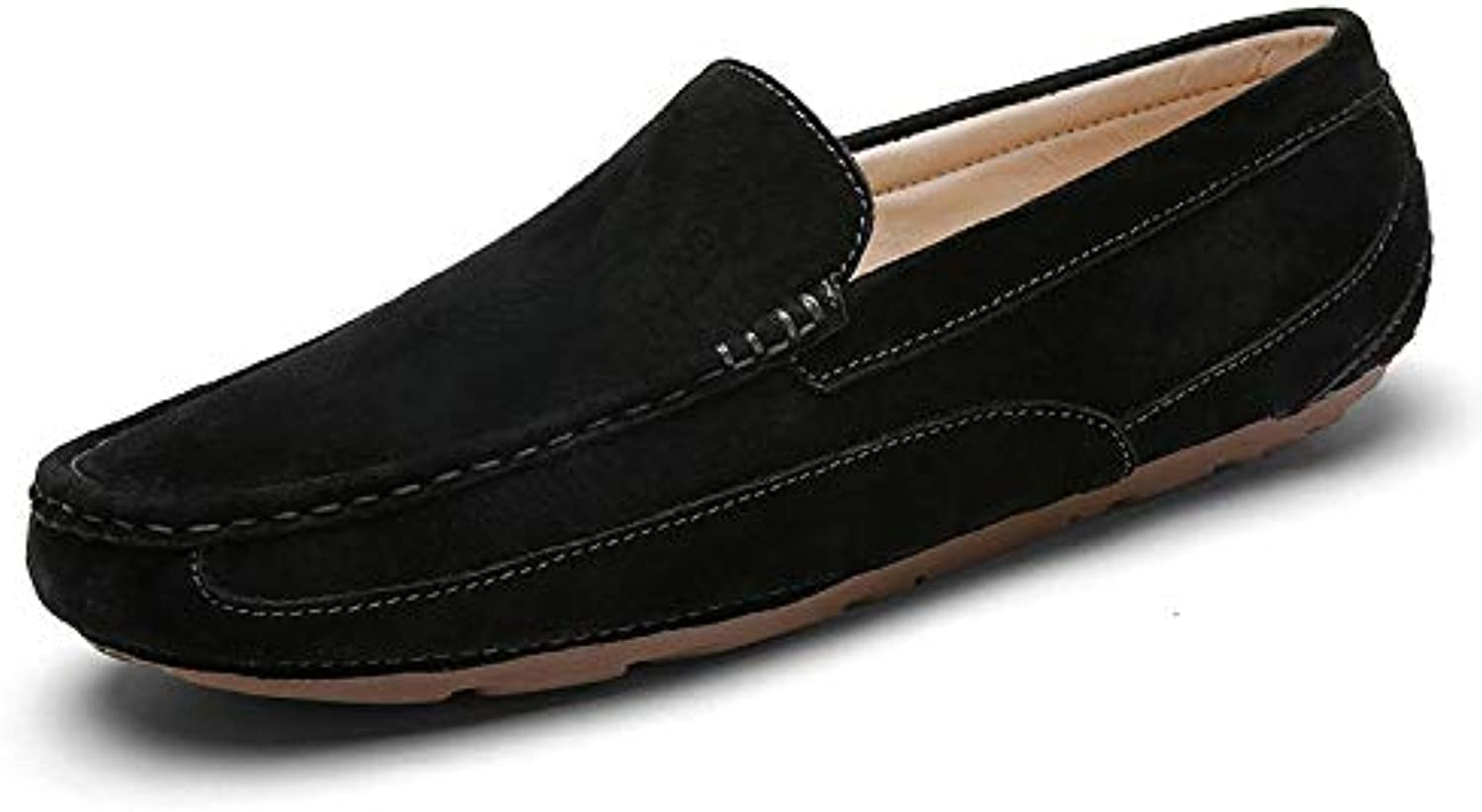 Easy Go Shopping Driving Loafer For Men Boat Moccasins Slip On Pigskin Leather Simple Low Top shoes Cricket shoes (color   Black, Size   8 UK)