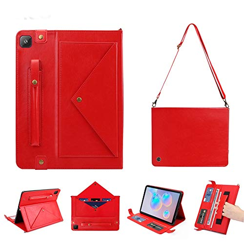 YDYX AYDD For Samsung Galaxy Tab A7 SM-T505 (2020) Horizontal Flip Double Holder Leather Case with Holder & Card Slots & Photo Frame (Color : Red)