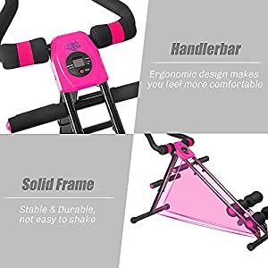 Core Abdominal Trainers,Foldable AB Workout Machine Strength Training Ab Cruncher Fitness Machine Equipment,Charming Rose