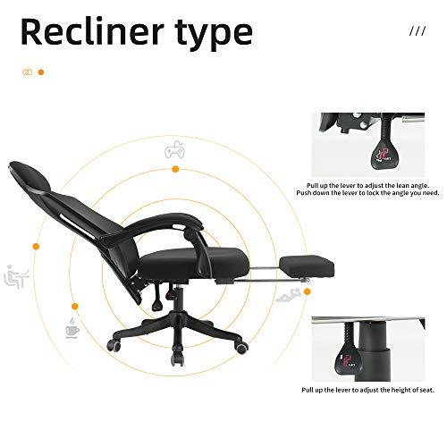 BERLMAN Ergonomic High Back mesh Office Chair Recliner with Footrest Desk Chair Computer Chair (Black Plus)