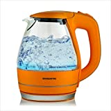 Ovente Portable Electric Glass Kettle 1.5 Liter with Blue LED Light and Stainless Steel Base, Fast Heating Countertop Tea Maker Hot Water Boiler with Auto Shut-Off & Boil Dry Protection, Orange KG83O