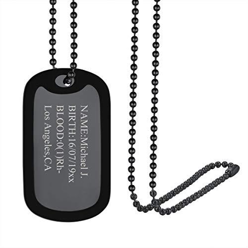 ChainsPro Collares Personalizados Nombres de Identidad Colgantes Dudaderos Tabla Metálico Negro Borde Silicona Protección Regalo Económico