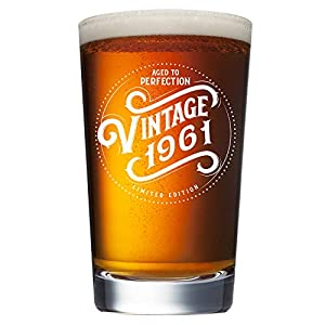 Perfect 60th Birthday Gift For Men Idea - Help celebrate the 60 year olds birthday with this timeless and practical pint glass. Because the glass is printed with the year 1961 it will never go out of style after their 60th Bday. Fabulous Gift For 60 ...