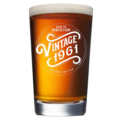60th Birthday Gifts for Men - 1961 Birthday Gifts for Men - Vintage 16 oz Beer Pint Glass - 60 Year Old Birthday Gifts for Men Dad Husband Grandpa Brother Uncle Him - 60th Birthday Presents Ideas