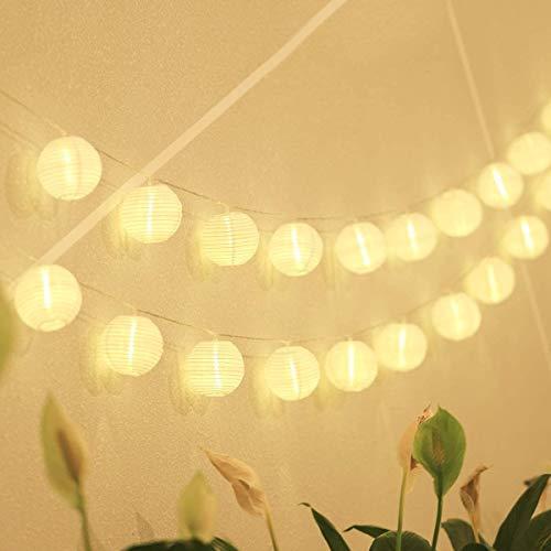 MonTrüe 10m batería LED Guirnaldas de Luces Farolillos, linterna luces 40er LED luces de jardín linterna decoración iluminación - blanco cálido