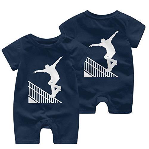 Skateboarden Skater Do Nosegrind Rail Slide met Board Baby Meisje Korte Mouw Romper Jumpsuit Bodysuits 0-24 Maanden
