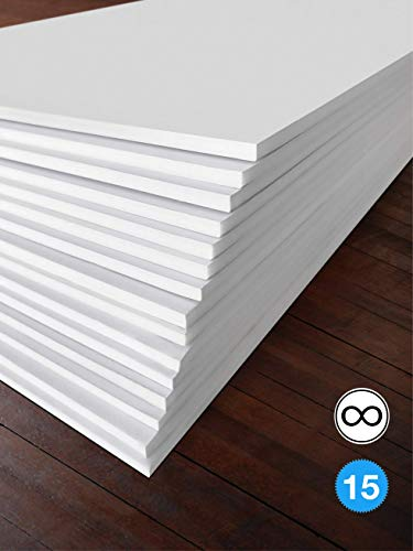 Excelsis Design, Pack of 15, Foam Boards (Acid-Free), 11x14 Inches (Many Sizes Available), 1/8 Inch Thick Mat, White with White Core (Foam Core Backing Boards, Double-Sided Sheets)