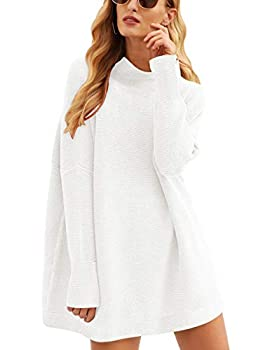 MILLCHIC Women Casual Turtleneck Batwing Sleeve Slouchy Oversized Ribbed Knit Tunic Sweaters JH98-27M7-baise-S White