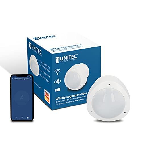 UNITEC WIFI Bewegungs-Melder Infrarot mit Alarm, sendet Benachrichtigung aufs Smartphone, WLAN fähig, Batteriebetrieben, Alexa/Hey Google kompatibel