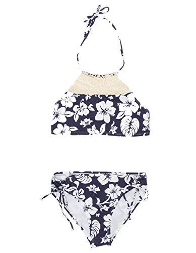 Hobie Girls' Big High Neck Halter Top and Side Tie Bikini Bottom Set, Navy//Aloha, 10