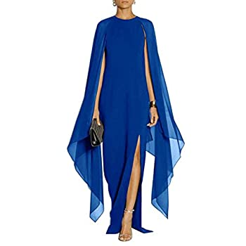 MAYFASEY Women s Elegant High Split Flared Sleeve Long Formal Evening Gown Dress with Cape Blue L