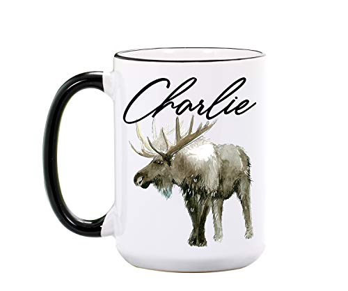 Moose Mug - Personalized 15 oz or 11 oz Ceramic Cup - Moose Lover Gifts - Moose Mug for Hunter - Hunting Gift - Moose Coffee Mugs - Dishwasher & Microwave Safe - Made In USA