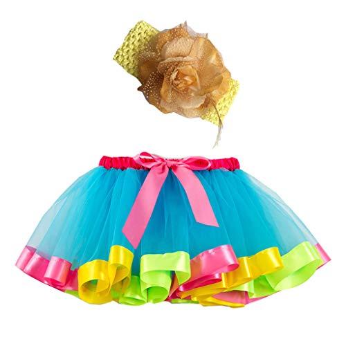 Ropa Infantil Moda 2-11 años Niño Infantil BEBÉ Chica Falda Arco Iris Tutu Fiesta Baile Ballet Mini Vestido Falda Princesa + Conjunto de Bandas para el Cabello 2 Piezas (Verde, S 2-4 años)