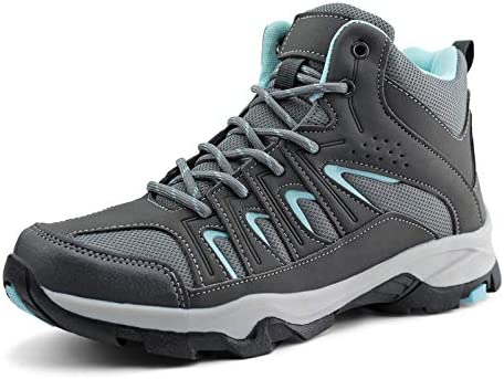 JABASIC Womens Mid Hiking Boots Lightweight Waterproof Outdoor Trekking Shoes 8 Grey Blue product image