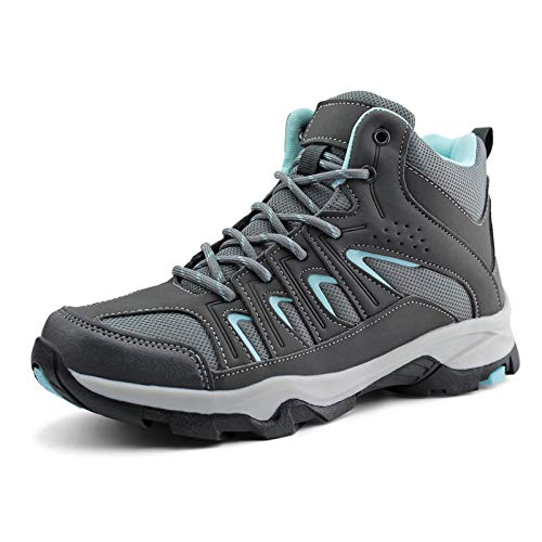 JABASIC Womens Mid Hiking Boots Lightweight Waterproof Outdoor Trekking Shoes (7,Grey/Blue)