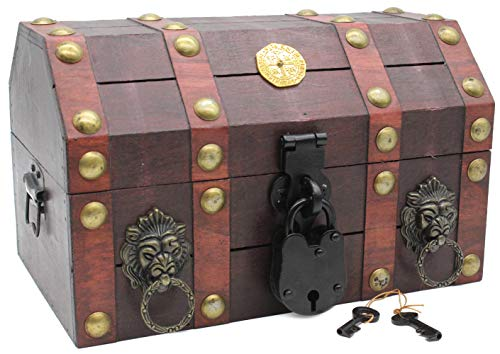 Well Pack Box Treasure Chest Pirate 11 x 7 x 6 Lock Skeleton...