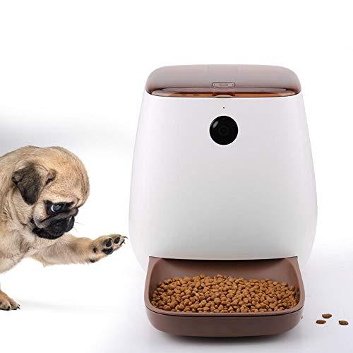 FOTABPYTI Automatische Tierfütterung, 100-240V Automatische Tierfütterung Smart Remote App mit Kamera für Hund/Katze(Weiß)
