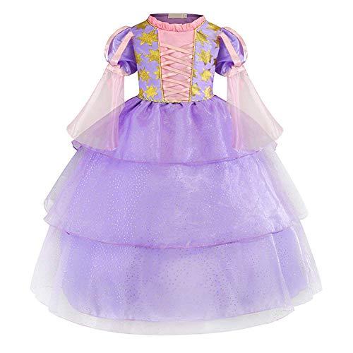 IBTOM CASTLE Rapunzel Kostüm Kinder Prinzessin Kleid Karneval Cosplay Party Halloween Faschingskostüm Verkleidung Karneval Faschingskostüm Cosplay Party Halloween Festkleid Violett 2-3 Jahre